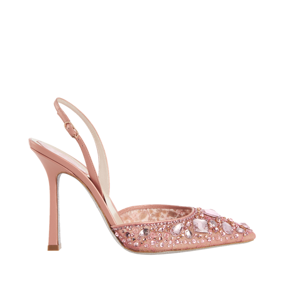 The pink jewel slingbacks CRYSTAL are characterised a romantic and feminine design, rigorously Made in Italy. Elegant slingback sandals with high heels featuring an elongated toe cap covered in lace. Refined decorations with stones and crystals, handcrafted, embellishing the model giving a sophisticated and sought-after style.